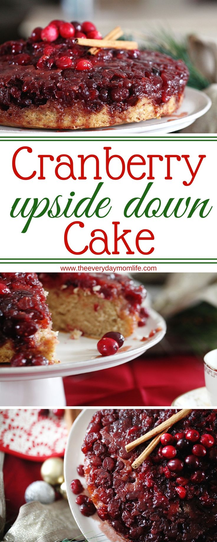 The Best Cranberry Upside Down Cake. Make this for Christmas or Thanksgiving. It's the perfect dessert for family holidays. #desserts #dessertrecipes #Cranberry #christmasdesserts #recipes #recipeoftheday #recipeshare