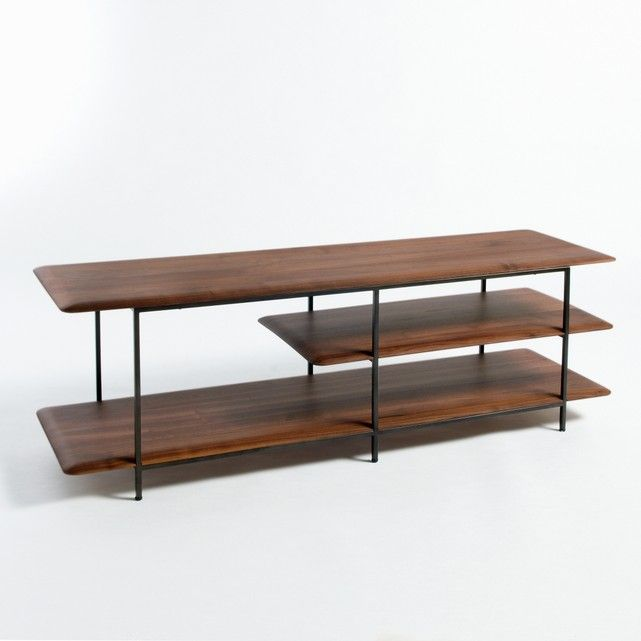 Jacobson TV / HiFi stand. Light and graphic line with slightly rounded wing-shaped shelves.:- Metal structure with an epoxy finish- Shelves in solid walnut with polyurethane finish- Supplied ready assembledSize :- L140 x H46 x D40cm.Dimensions and package weight :- L147 x H54 xD47cm, 22kgHome delivery :Your TV stand will be delivered to your door by appointment!Note! Please check that all access points are large enough to accommodate your delivery (doors, stairs, lifts).