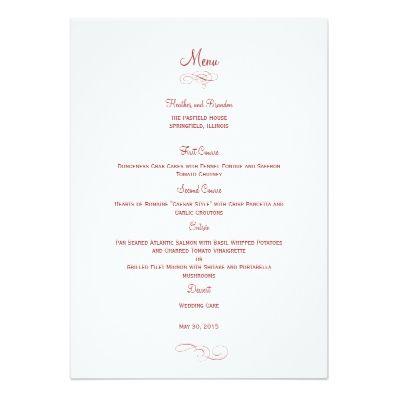 Best Menu Cards For Wedding Images On   Wedding Menu