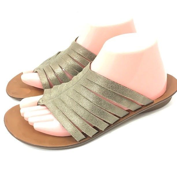 b74687fae38e Paul Green Womens Wilma Sandals Metallic Leather US Size 10 M   UK 7.5 Slip  On