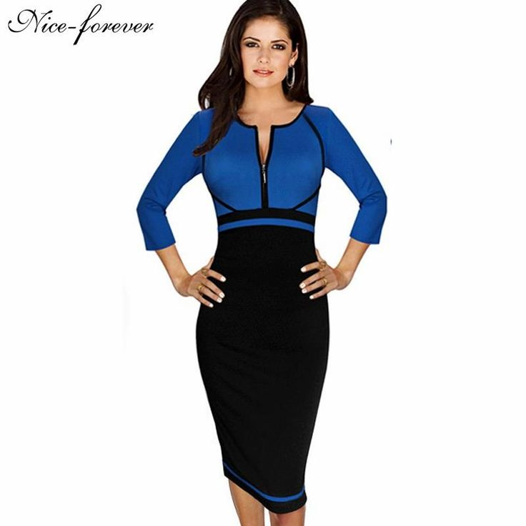 Spring Work Dress Patchwork Round Neck 3/4 Sleeve Business Dress $30.37   => Save up to 60% and Free Shipping => Order Now! #fashion #woman #shop #diy  http://www.yiclothes.net/product/nice-forever-spring-work-dress-patchwork-round-neck-34-sleeve-business-fashion-sheath-bodycon-female-casual-pencil-dress-b235/