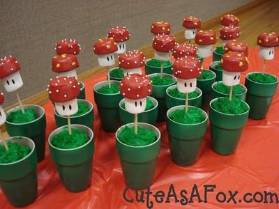 Mario Themed Party - this is so cool: Theme Birthday Parties, Cakes Pop, Bros Parties, Supermario, Birthday Parties Food, Parties Ideas, Mario Parties, Super Mario Bros, Mario Birthday Parties