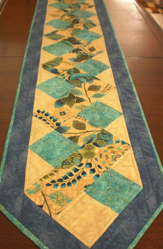 """Quilted long table runner, 73""""x16"""", modern zigzag design in turquoise blue cream gold,  reversible, patchwork quilted table decor, handmade"""
