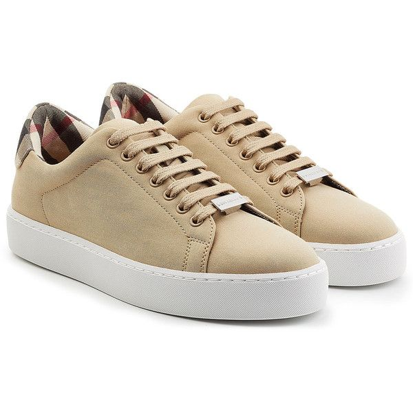 Burberry Canvas Sneakers (€275) ❤ liked on Polyvore featuring shoes, sneakers, beige, beige shoes, plimsoll shoes, canvas sneakers shoes, burberry trainers and burberry shoes