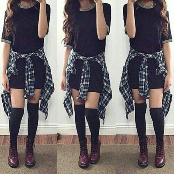 Dress: black simple black flannel flannel shirt over the knee socks... ❤ liked…