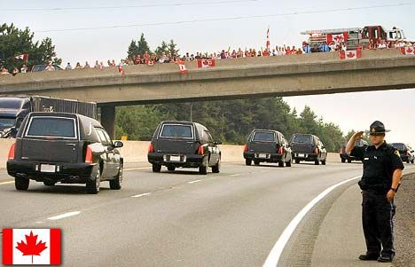 Highway of Hero's.  Every one of our soldiers that is killed in service gets this kind of honour from people on every overpass the coffin goes under.