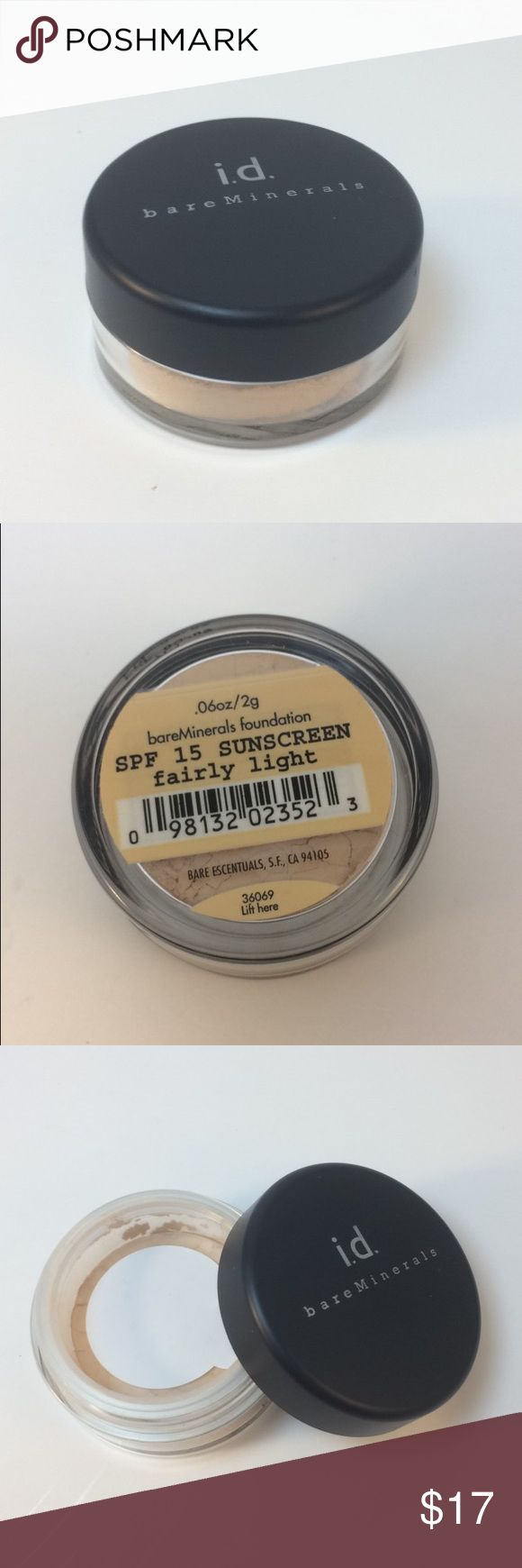 ♨️NEW ITEM♨️ bare Minerals SPF 15 Sunscreen Light SPF 15 Sunscreen Fairly Light #1 Mineral Foundation in 2016* Naturally luminous, lightweight, loose powder foundation provides sheer-to-full coverage that lasts for up to 8 hours.  This natural-looking foundation is made with just 5 mineral ingredients. Great for sensitive skin, and protects your face with broad spectrum SPF 15. This makeup is so pure that it won't cause breakouts-even if you sleep in it. *10-Year Allure Best of Beauty Hall…