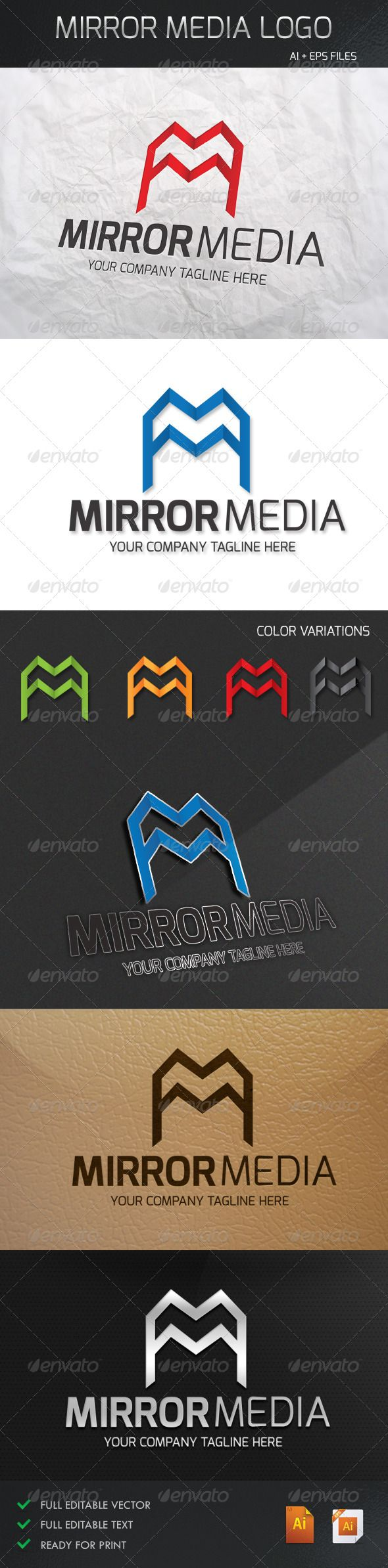 Mirror Media Logo  #GraphicRiver         Mirror Media Logo is a clean, creative professional, Logo template suitable for Media and websites, stationery Product or business.  	 Details:  	 	 100% customizable 		 Easy to Editable Text 		 Color: CMYK 		 Size: Resizable 		 Files: Illustraitor CS .AI, .EPS. 		 4 color variation 		 Black and White version Include; 		 Vector Format 		 Font: exo 		 Link Fonts :  .fontsquirrel /fonts/exo 	     Created: 7August13 GraphicsFilesIncluded: VectorEPS…