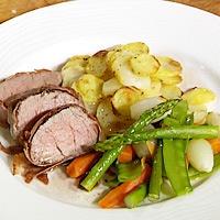 """Oppskrift Kalvefilet """"saltimbocca"""" servert med potet lyonnaise, smørdampede grønnsaker og sherry- og rødvinsjy fra Klikk.no"""
