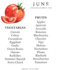June Seasonal Produce List, along with an ingredient index for recipe ideas and a few favorite recipe recommendations   uprootkitchen.com