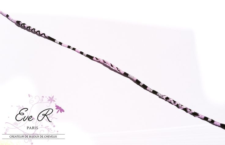 Atebas - tresses en coton ou indienne - Couleurs Noir - mauve - doré : Accessoires coiffure par eve-r-createur-bijoux-de-cheveux