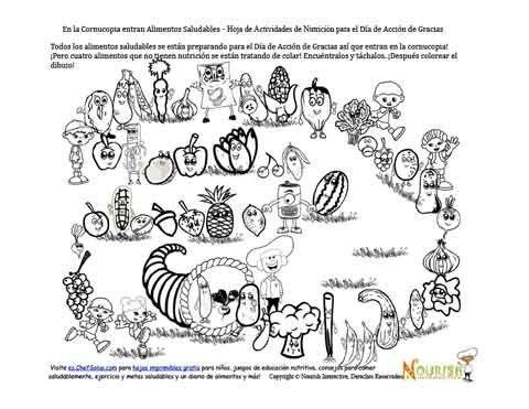 Páginas de actividades de nutrición y para colorear con el tema del Día de Acción de Gracias gratis para los niños disfrutar. Promueven los vegetales y frutas de cosecha, la pirámide alimenticia y las opciones saludables durante el Día de Acción de Gracias.