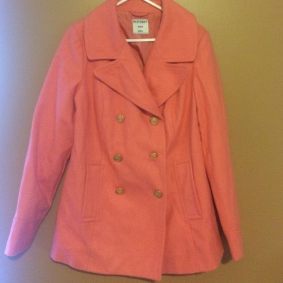 Pea coat Pink Size M Pink pea coat from old navy, never worn, still with tags on it. Great condition Old Navy Jackets & Coats Pea Coats