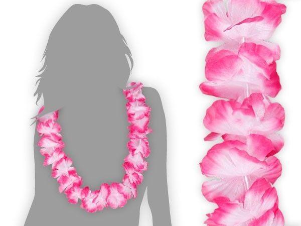 12Stk. Hawaii-Ketten Hula Blumen-Ketten Motto-Party JGA Deko Auto Weiß Pink HK08 in Sammeln & Seltenes, Saisonales & Feste, Fasching & Karneval | eBay