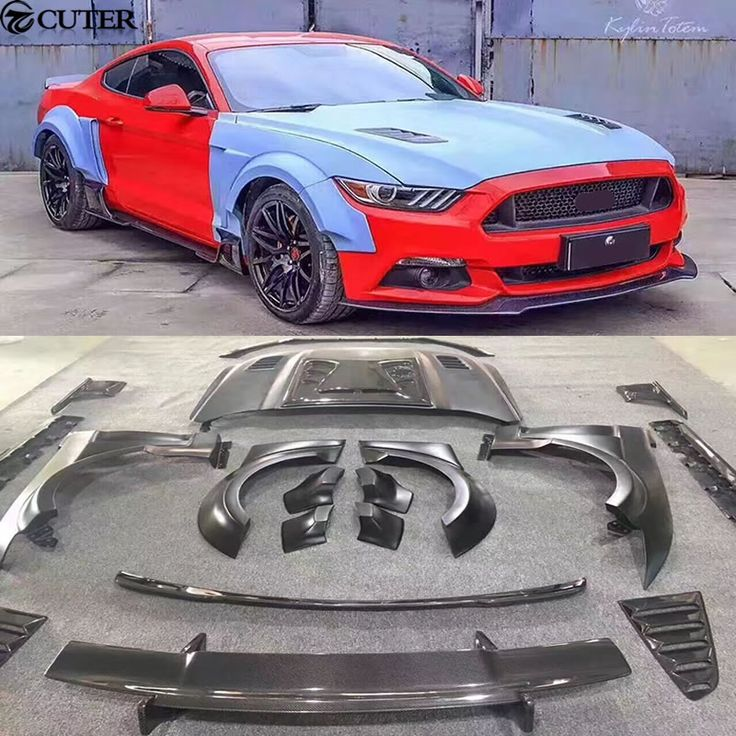 Carbon Fiber Frp Wide Car Body Kit Unpainted Front Rear Bumper Engine Hood For Ford Mustang Kylintotem Body Kit 15 17 Ford Mustang Body Kit Mustang