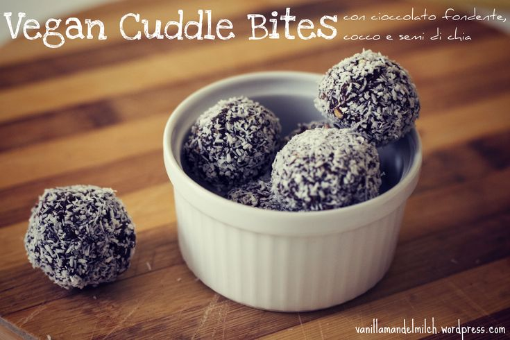 Vegan energy bites with chocolate and coconut