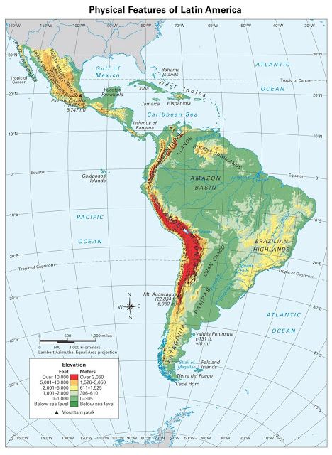 Latin America, physical features Map