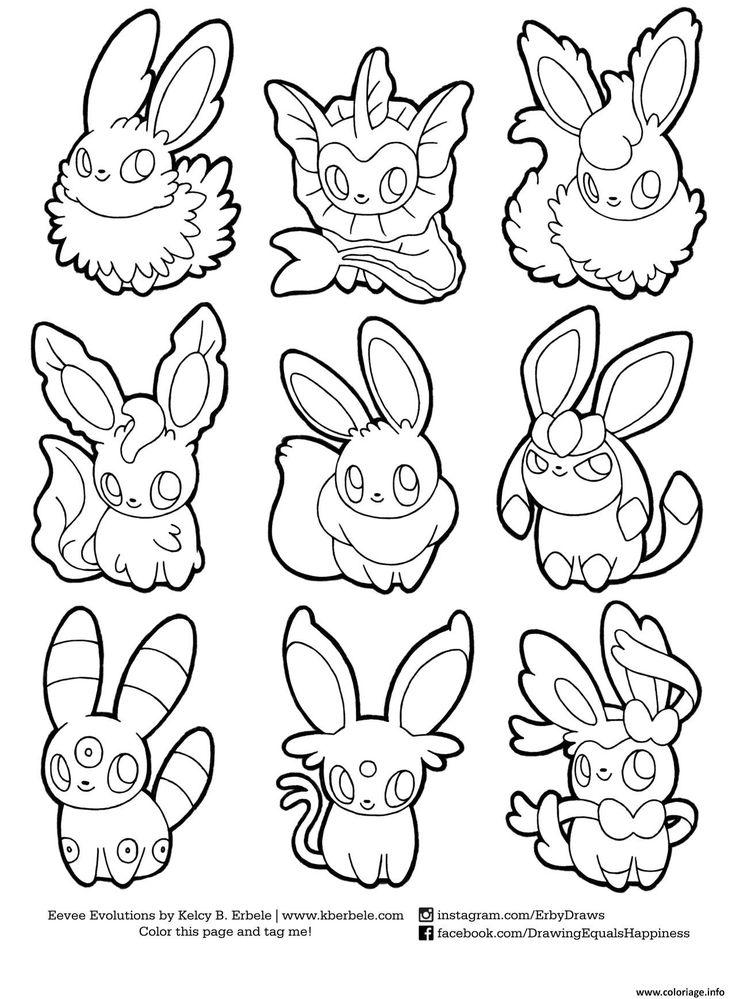 coloriage pokemon eevee evolutions list dessin imprimer