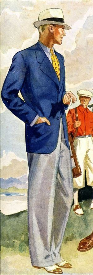 1930s summer mens fashion navy sportcoat white pants by laurence fellows