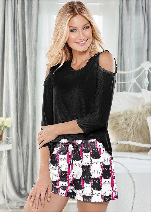 Venus Women's Lace Trim Pajama Short Set Pajamas - Black/pink, Size XS