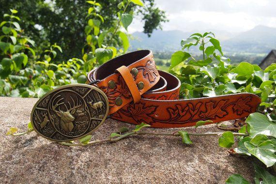 maple leaves leather belt forest design by PocillatorWorkshop