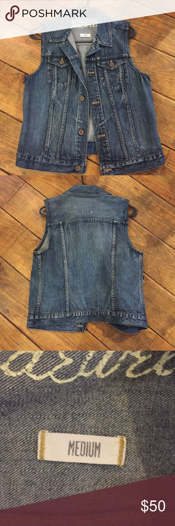 Madewell blue jean vest In excellent condition. Worn twice. Madewell Jackets & Coats Vests