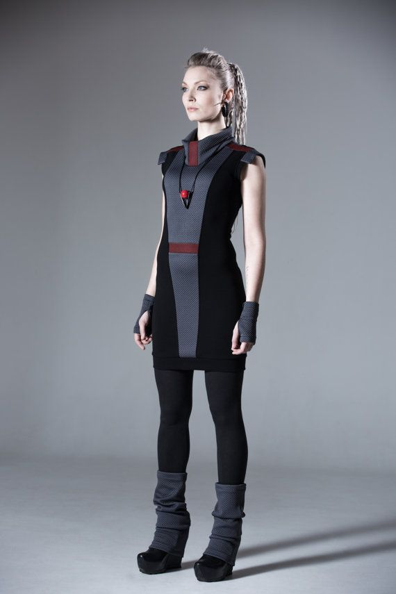 Sci-fi dress slim fit avant garde dress cowl neck waist by ZOLNAR