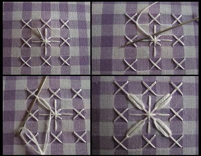 I always remember visiting my Grandmother and she was always working on gingham tablecloths like this. This type of stitching appeals to my obsessive compulsive side.