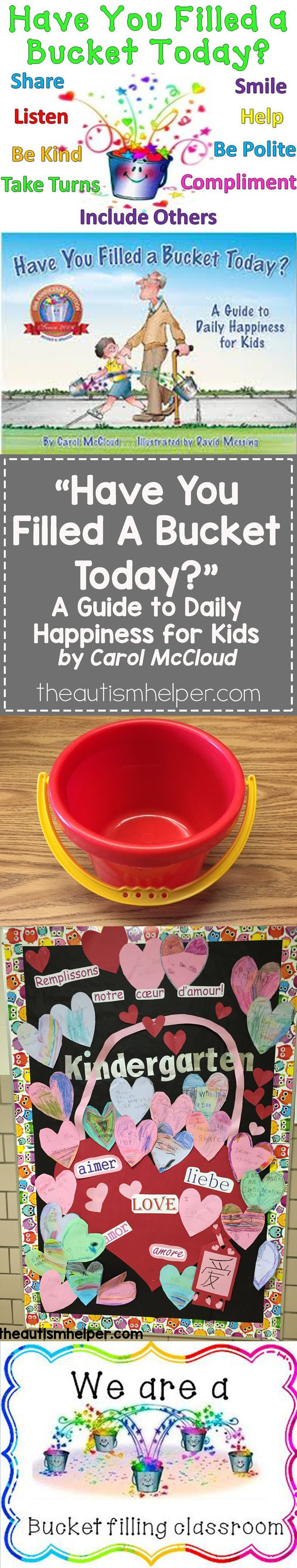 """Learn how Sarah uses """"Have you Filled a Bucket Today?"""" by Carol McCloud to help build social skills in speech therapy on the blog!! From theautismhelper.com #theautismhelper"""