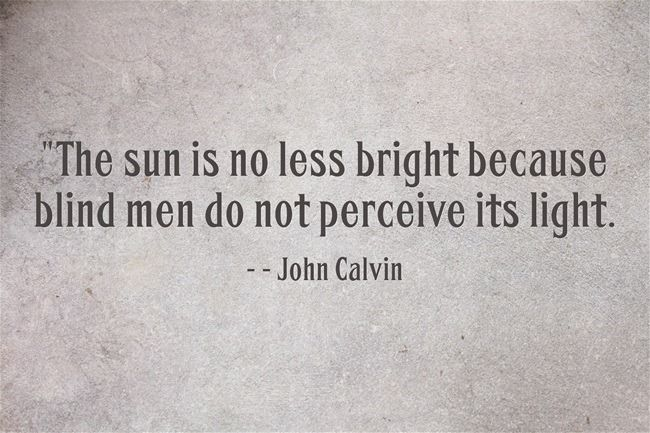 John Calvin - The sun is no less bright because blind men do not perceive its light.