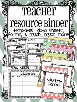 Huge teacher binder!  Includes tons of great data sheets, templates, forms, and organizational goodies!!