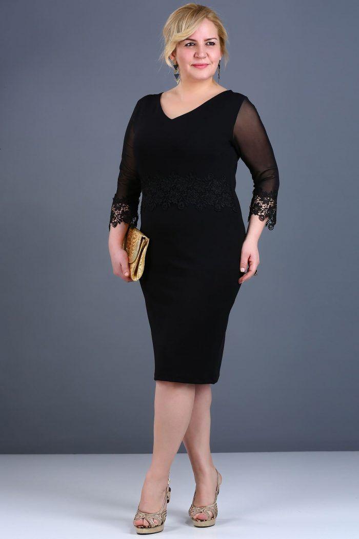 V Yaka Sırt Düğme Detay Siyah Elbise 59TL