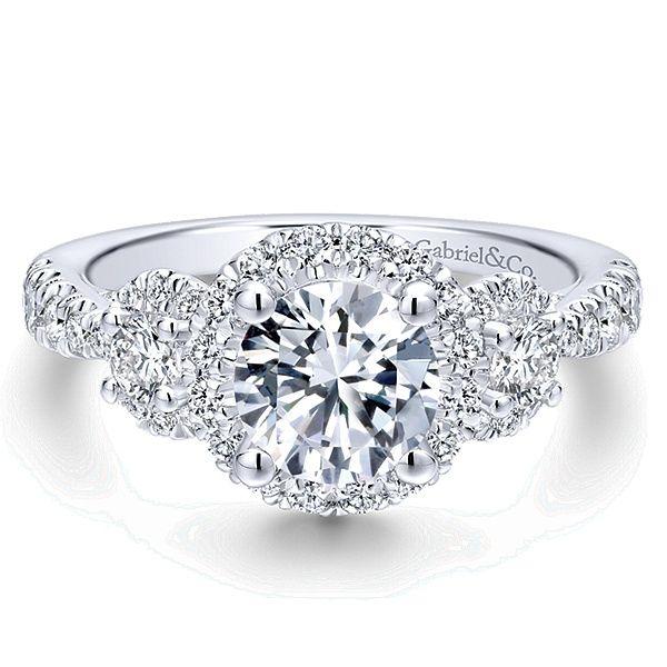 Liana 14k White Gold Round 3 Stones Halo Engagement Ring angle 1