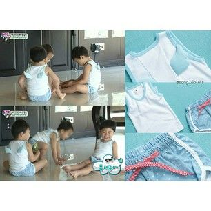 The cutest outfit for Song Triplets in their first appearance The triplets' angel wings tank top and stars pattern shorts are from Dress Monster - Angel Pear Set. Price: KRW 28,800.