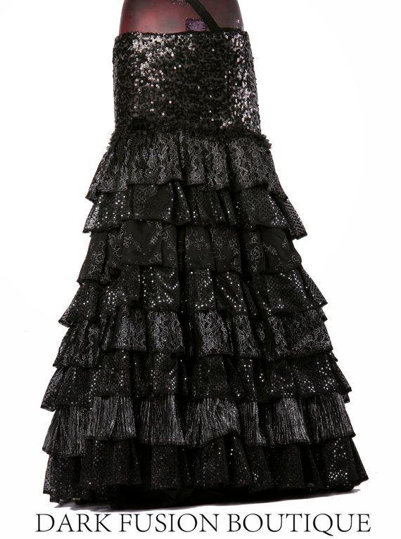 Skirt GLAM Sparkle Flamenco Cabaret Black by darkfusionboutique