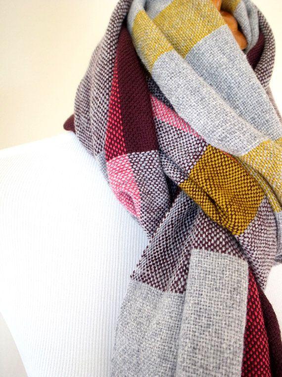 Merino cashmere scarf in Bordeaux grey pink mustard by Handarbete