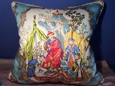 VERVAIN TAIPING PALACE TOILE AQUA CHINOISERIE; BRUNSCHWIG SHAYLA SILK PILLOW