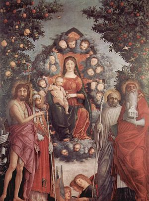 Andrea Mantegna | Trivulzio Madonna, 1497, tempera on canvas, 287 cm × 214 cm, Civico Museo d'Arte Antica, Milan. | The current name comes from the Trivulzio Collection of Milan, to which it belonged from 1791 to 1935.