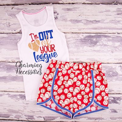 I'm Out of Your League Glitter Tank Top and Retro Shorts Set- by Charming Necessities Baseball Sister Fan Baby Toddler Girl Boutique Clothes