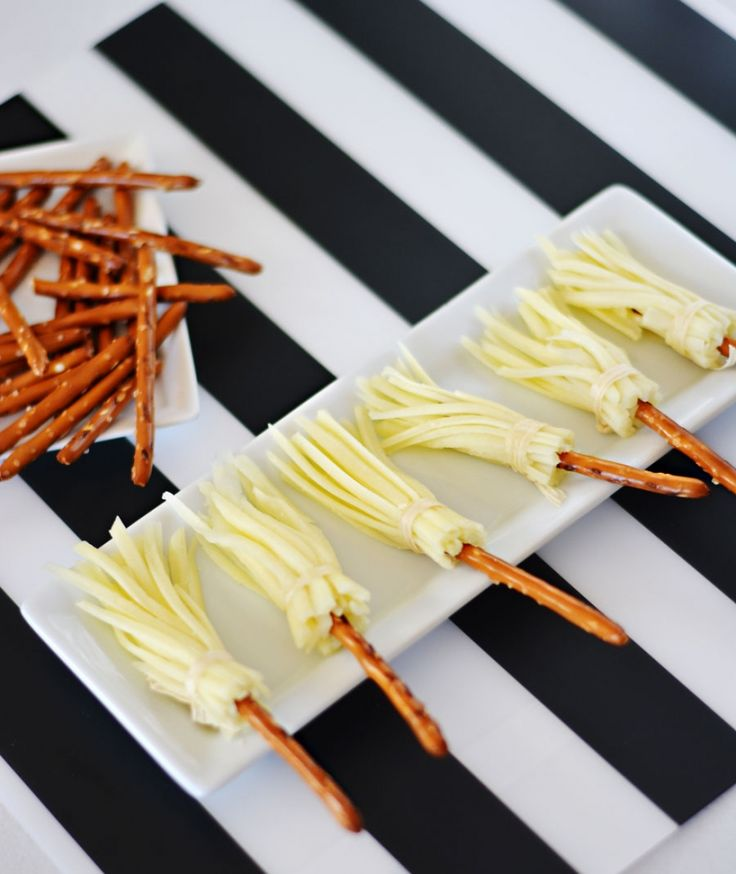 Cheese & Pretzel broomsticks would make a fun but healthy treat!