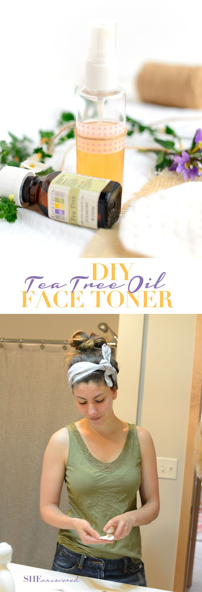 Toner or Hand Sanitizer Just 3 simple ingredients is all you need to make this DIY Tea Tree Oil Face Toner {All-Natural!}. Most people skip toning their skin, but it is so important! Learn why and how to make your own natural version here!