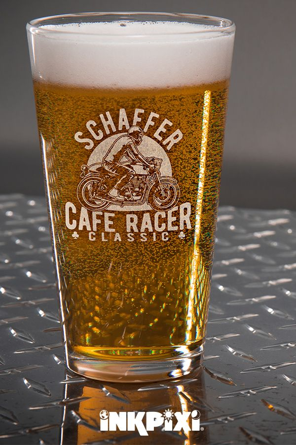 Cafe Racer Clear Pint Glass Engraved Single Custom Pint
