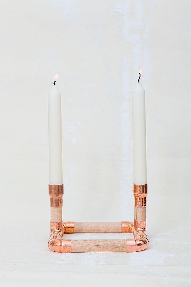 Kerzenständer Holz Anleitung ~ Kerzenständer aus Holz und Kupfer  candle holder out of wood and