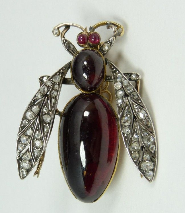 18K YG RUBY & DIAMOND BEE PIN