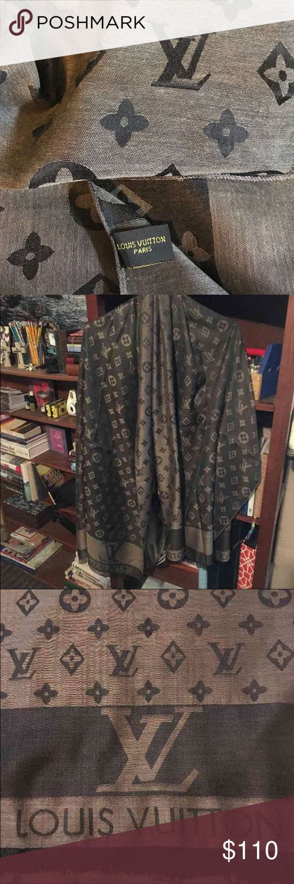 LV beautiful signature scarf Brand New! 72 in by 28 in.  Extra large lv monogram scarf.  Can be worn several ways.  Shawl, scarf, or body covering!  Combination of silk and cashmere!   LV beautiful signature scarf Louis Vuitton Accessories Scarves & Wraps