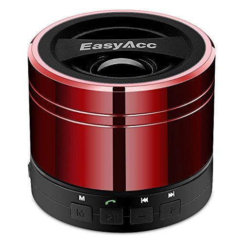 EasyAcc® Mini Enceinte Portable Haut-parleur Bluetooth Rechargeable pour Smartphones ,Tablettes ,ordinateurs portables, Ultrabook ,avec microphone , fonction FM et Lecteur de la Carte Mico SD- Rouge
