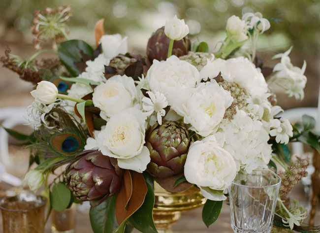 golden tipped artichokes  photography: Maile Lani Photography // florals: Kim Starr Wise