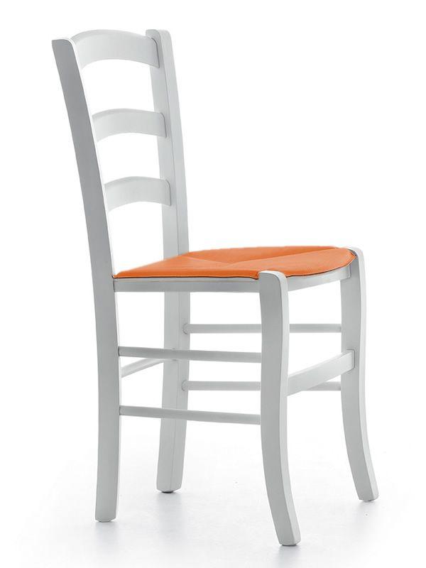 MD149 | Sedia rustica in legno con seduta in cuoio, disponibile in diversi colori