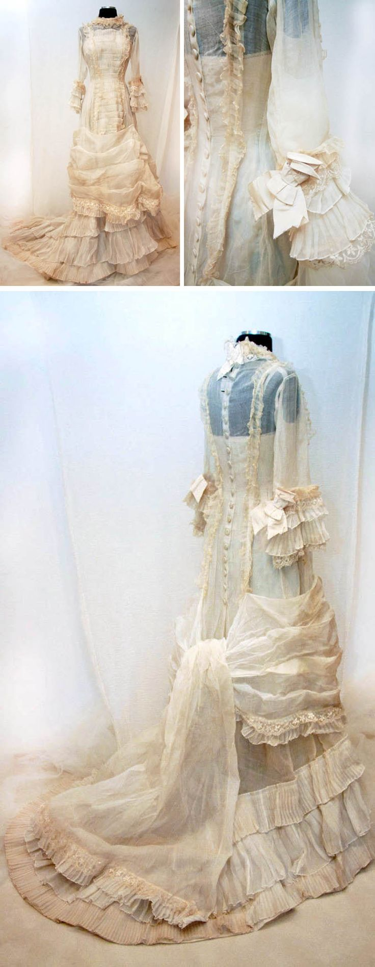"""Wedding gown, late 1870s-early 1880s. Cream-colored organza with lace. """"Natural form"""" dress made of single unseamed panel from shoulder to hem so it lies flat. Long train. Fifteen rows of pleats that face upward and are framed by double-edged row of silk thread-trimmed, loosely woven organza ruffles. Machine- and hand-stitched. Close-fitting sleeves flare out with 2 rows of pleats, finished with tier of handmade silk lace and ivory silk faille ribbon, which is also at neckline"""