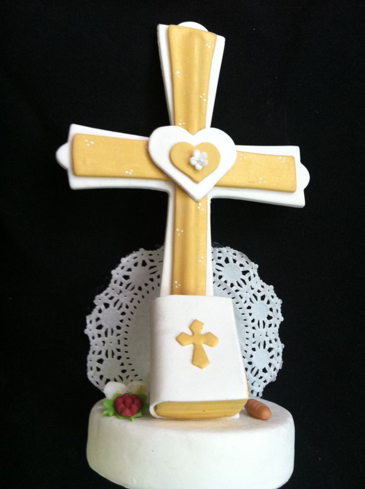 First Communion Cross Cake topper, these Crosses are available in White or Gold. These Beautifully Cross Will make Your child's first Communion or Baptism memorable is a great Cake topper or centerpie